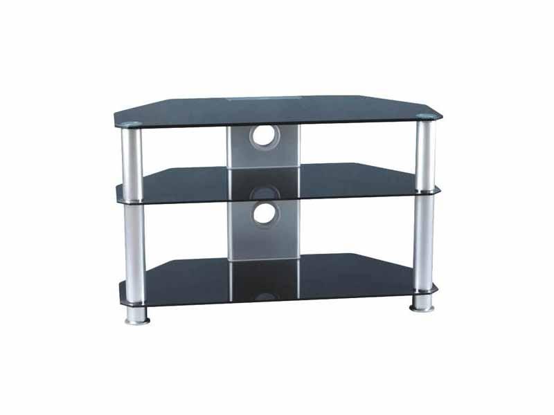 Glass Tv Stand Three Tier Black Silver 32 37 Slim Design Gt2